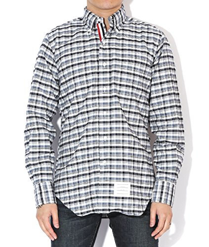thom-browne-mens-slim-fit-checkered-shirt-size-0-blue-and-navy
