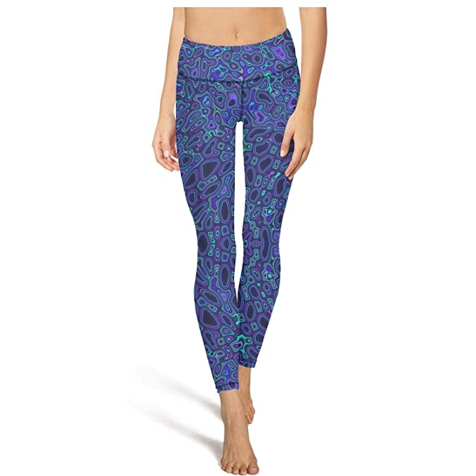 735d095607c09 Blue Abstract Trippy Neon Pattern Yoga Pants for Women Workout Sport  Leggings Slim Power Flex