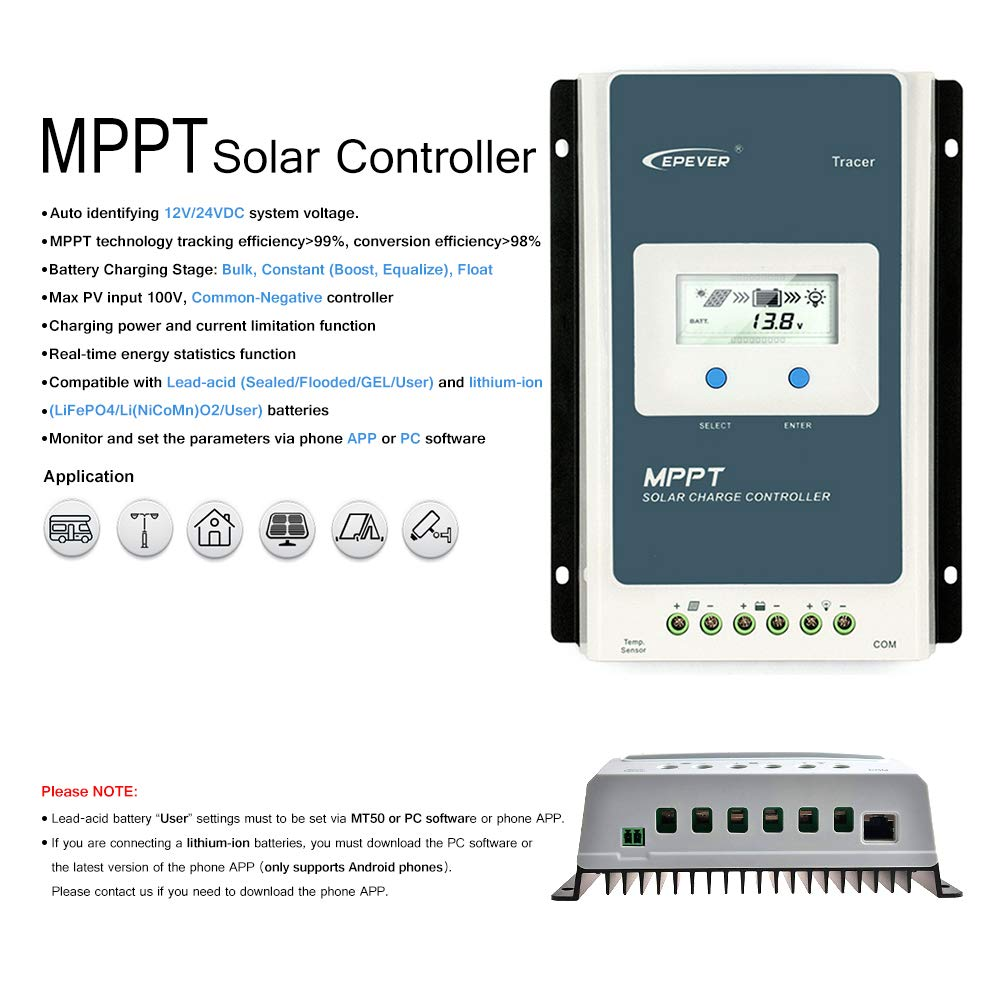 EPEVER Solar Charge Controller MPPT 30A 12V 24V Auto, Solar Panel Charge Controller Max 100V PV Negative Grounded Solar Regulator, for Lead-Acid and Lithium Batteries