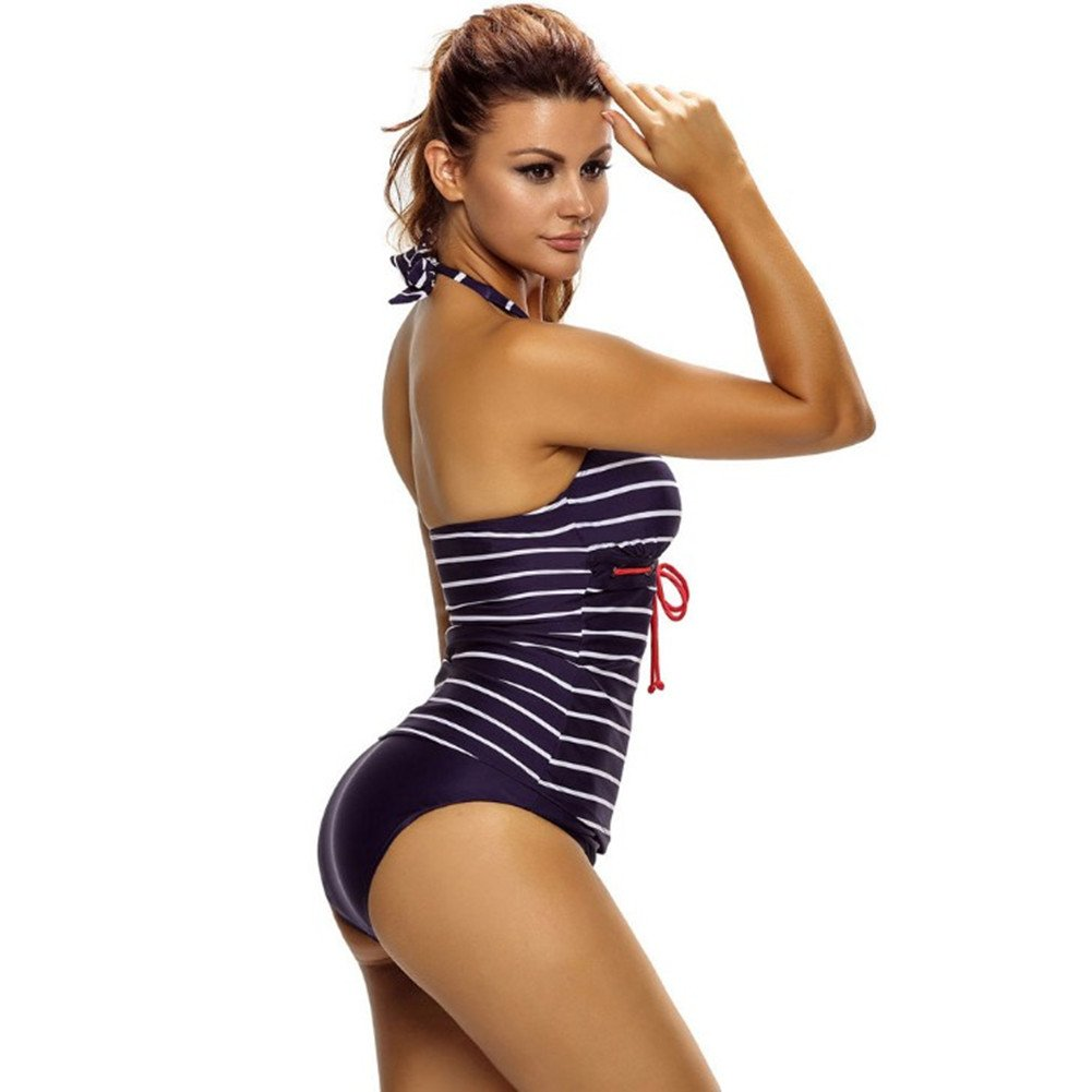 us18-20 seaped Womens V Neck Halter Backless Striped Tankini Top Swimsuit With Briefs Bathing Suits XX-Large