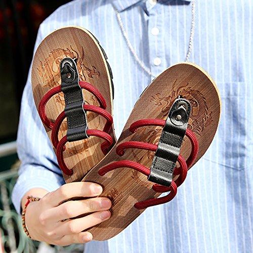 Infradito e The uomo Uomo uomo Sandali AIHUWAI Flip antiscivolo Estate Sandali is wine Pantofole Sandali Sandali red pantofole Sandali casual da da Feet 8ZZHO