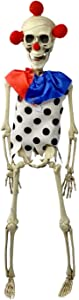 Needzo Halloween Hanging Skeleton Clown, Full Body Figurine Party Decoration or Haunted House Prop, 15 Inches