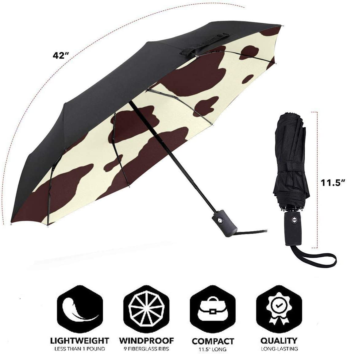 Cow Skin Print Automatic Tri-fold Umbrella Stylish Windproof Anti UV Rain//Sun Travel Umbrella Light Weight.