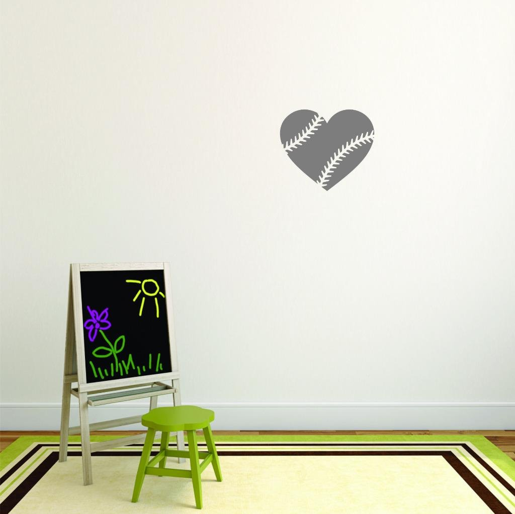 Design with Vinyl Moti 2710 2 Decal Wall Sticker As Seen Size 16 Inches x 16 Inches Heart Baseball Sports Quote Text Lettering Boy Girl Kids Teen Men Women Color