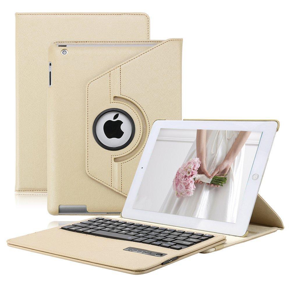 iPad Keyboard Case for iPad 2/3/ 4, KVAGO 360 Degree Rotating Case with Detachable Wireless Bluetooth Keyboard for iPad A1395/ A1396/ A1397/ A1416/ A1430/ A1403/ A1458/ A1459/ A1460 -Gold