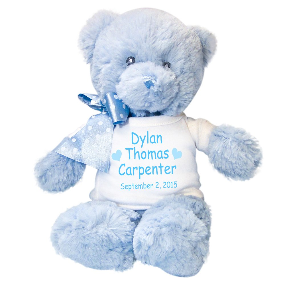 Personalized Blue Teddy Bear for Baby Boy