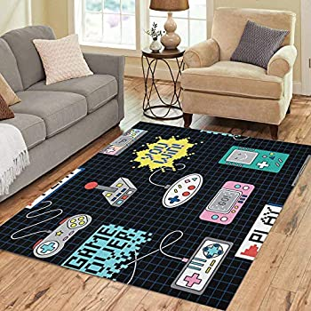 Amazon Com Semtomn Area Rug 5 X 7 Gamer Colorful Retro