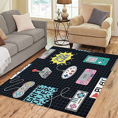 Room Controller - Semtomn Area Rug 5' X 7' Gamer Colorful Retro Game Controllers Pattern 90S Video Computer Home Decor Collection Floor Rugs Carpet for Living Room Bedroom Dining Room