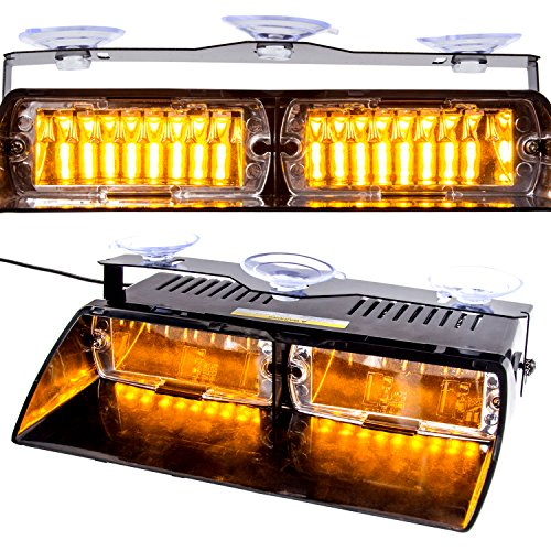 Amber Led Strobe Lights, 16 LED High Intensity LED Law Enforcement Emergency Beacon Hazard Warning Strobe Lights 18 Modes for 12V Vehicle Car Truck SUV Interior Roof / Dash / (Watt Emergency Light)