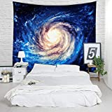 huge tie dye blanket - Spiral Galaxy Tapestry - Milky Way Starry Night Decorative Wall Hanging Cotton Navy Oil Painting Look Stars Sky Ceiling Decor, Picnic Blanket, Table Cloth, Bed Cover - Queen Size, 79 x 60 inches