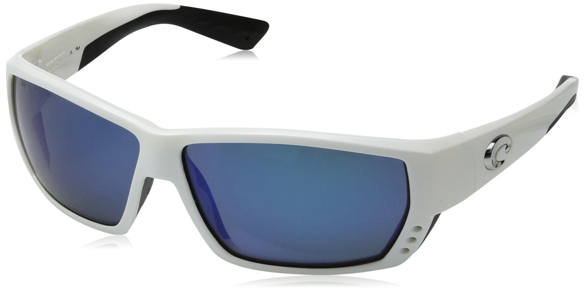 Costa Del Mar Tuna Alley Sunglasses, White, Blue Mirror 580 Plastic Lens