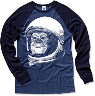 product image for Hank Player U.S.A. Ham The Astrochimp/NASA Helmet Men's L/S Baseball T-Shirt