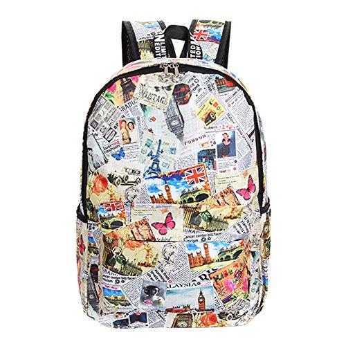 BB Gossip Vintage Newspaper Print Sturdy Canvas Backpack Bookbag for Teen Girls