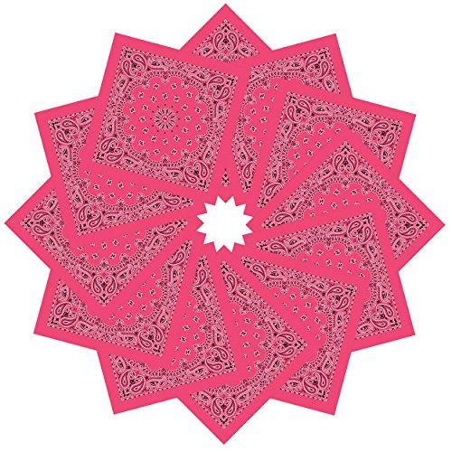 - Double Sided Bandanas, 12 Piece Men and Women Paisley Bandanas 100% Cotton Rose Red