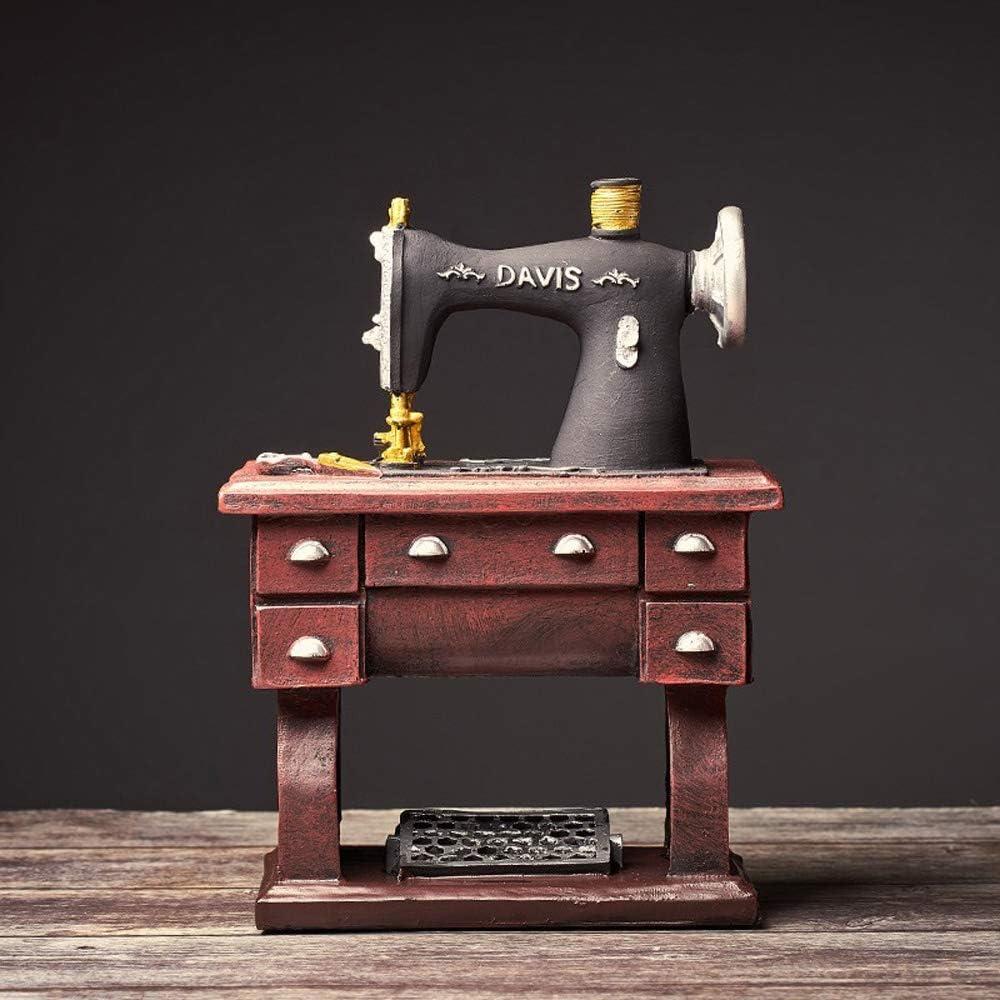 WZNING Personalidades escritorio de estilo retro creativa Máquina de coser Oficina Decoración de mesa Crafts suave decoración del hogar del pie Máquina de coser Crafts restaurante Decoración de la mes
