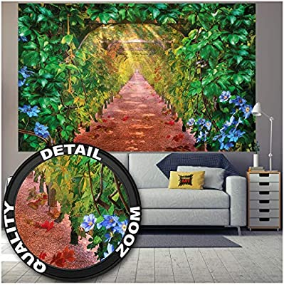 GREAT ART Mural de Pared – Callejón de vides de UVA – Paisaje Naturaleza Art Deco Ilustraciones Mura Vino Gráfico Verde Motivo Foto Papel Pintado Y Tapiz Y Decoración (210x140 cm): Amazon.es: