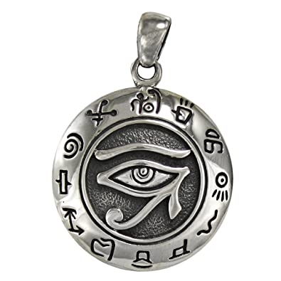 Amazon.com  Sterling Silver Egyptian Eye Of Horus Pendant  Pendant ... ca94c292a062