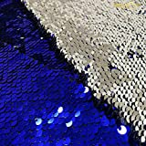 Mermaid Fabric by The 2 Yards Magic Shimmer Reversable Royal Blue to Silver Sequin Fabric 6Feet Flip Fabric for Clothing~1019E
