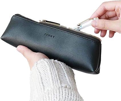 Fyore - Estuche de piel de lujo, diseño delgado con cremallera metálica, tamaño de bolsillo para bolígrafo y brocha de maquillaje, color negro 20*5*4.4cm: Amazon.es: Oficina y papelería