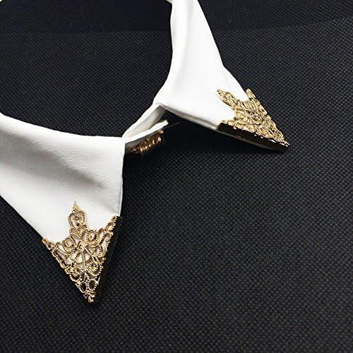 2ペア 襟ピン ブローチ 三角形 中空 合金 シャツ 衣装装飾 ギフト ゴールド