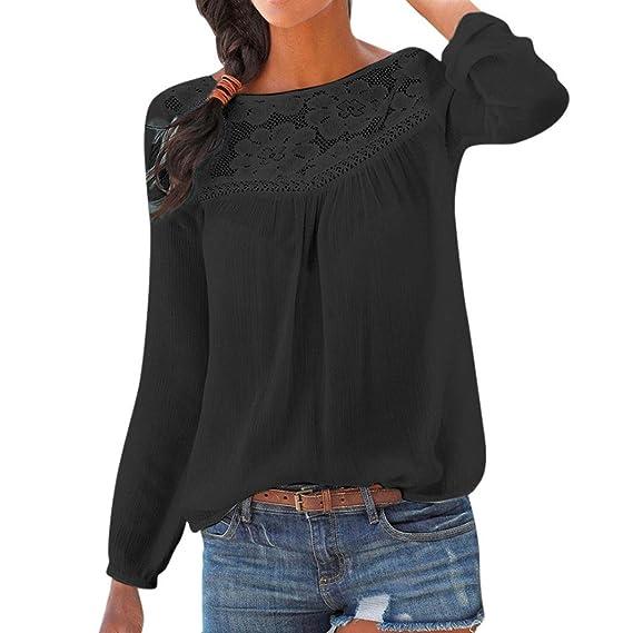 Camisas Mujer,❤ Modaworld Blusas de Manga Larga de Encaje Casual para Mujer Camiseta sólida Mujer Tops Blusa Camisa Elegantes Señoras: Amazon.es: ...