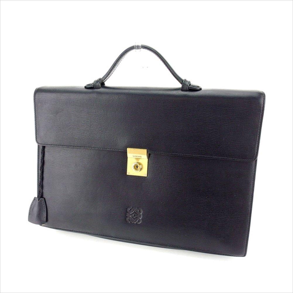 (ロエベ) Loewe ビジネスバッグ ブリーフケース ブラック×ゴールド アナグラム メンズ 中古 P407   B06W2MWC2M