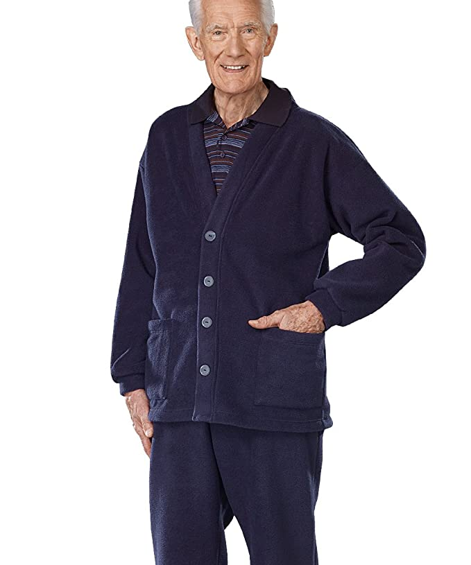 Mens Fleece Open Back Adaptive Cardigan - Navy MED