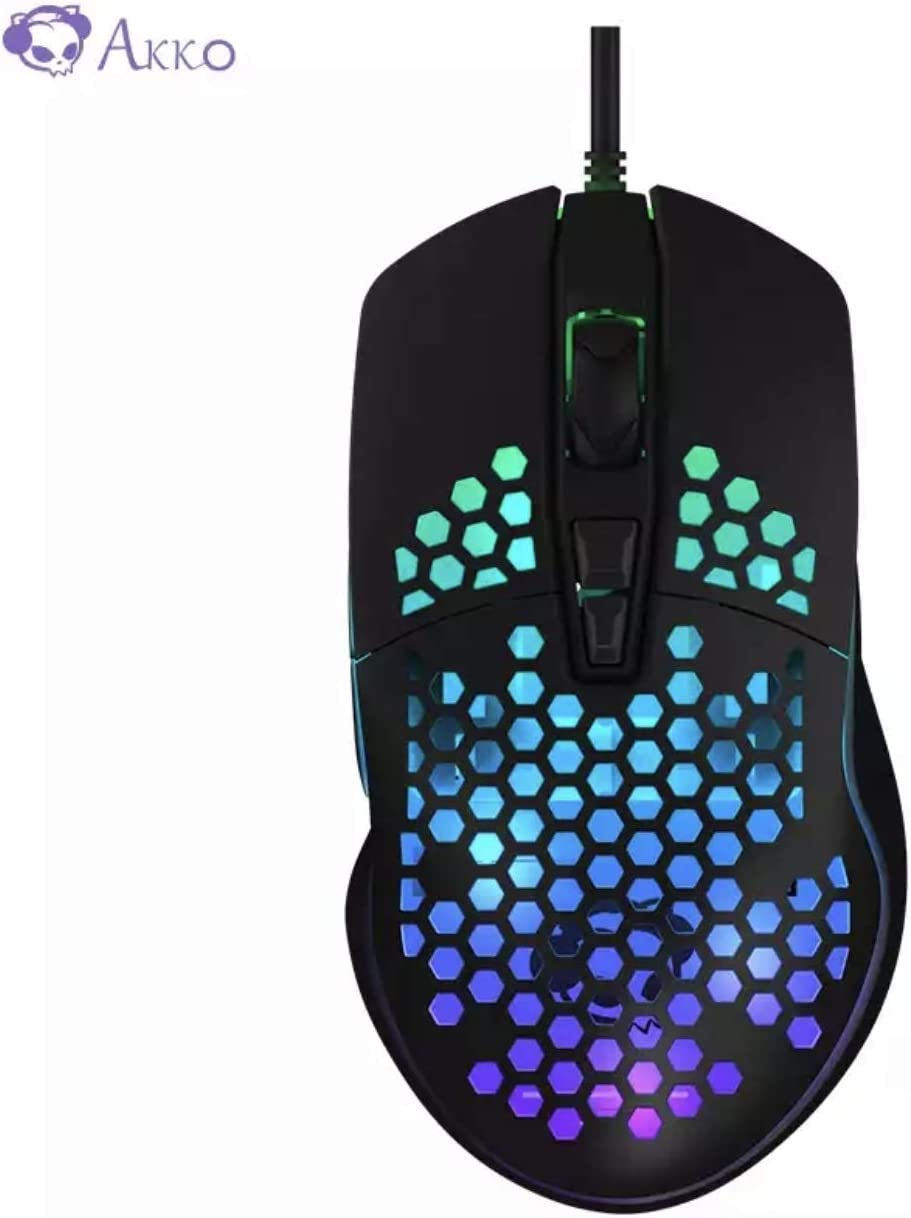 Akko LW325 Lightweight Gaming Mouse, RGB Esports Dedicated Computer Notebook Desktop Wired Mouse (Black)