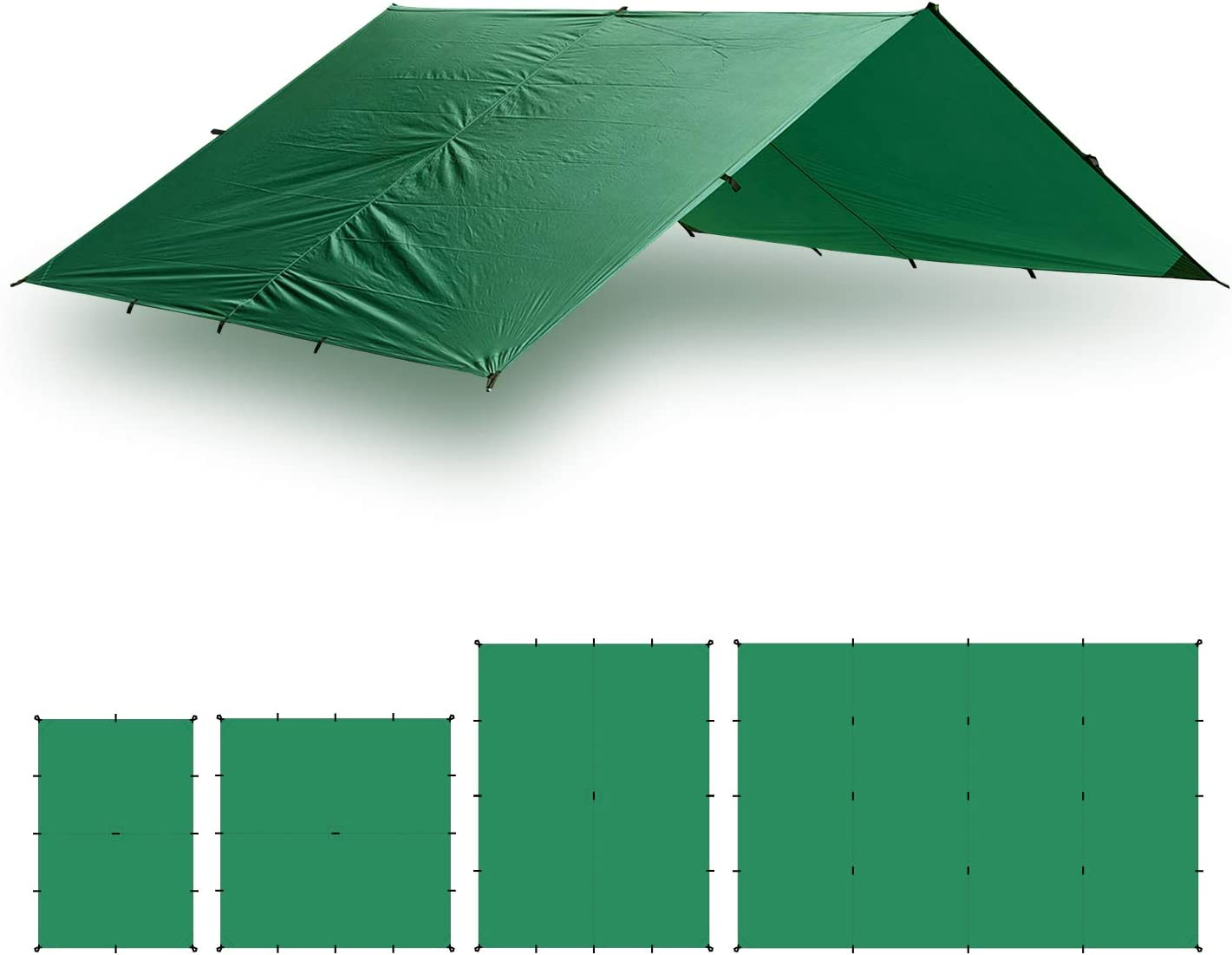 Aqua Quest Guide Tarp - 100% Waterproof Ultralight Ripstop SilNylon Backpacking Rain Fly - 10x7, 10x10, 13x10, 20x13 Green or Olive Drab