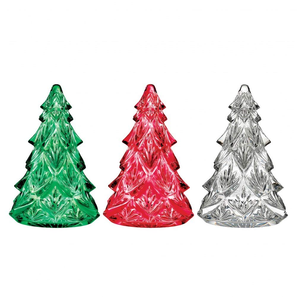 PartialUpdate Waterford Crystal 2018 Mini Tree 2.5 Set//3 Clear, Green /& Red