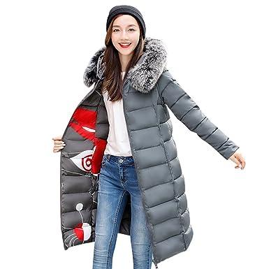 c748f7400c4 Women Grey Reversible Winter Long Parkas Down Jackets Outerwear with Faux  Fur Hood XS (Label