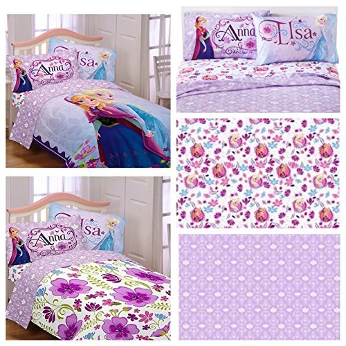 Disney Frozen Celebrate Love 5 Piece Full Bedding Set - Reversible Comforter and Cotton Rich Sheet Set by Franco Mfg Co.