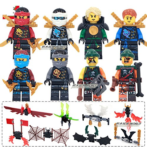 gonggamtop Skybound Flying Phantom Ninjago Zane Kai Jay with Wings Minifigures Toys Gifts (Kids Plush Dinosaur Wings Costume)