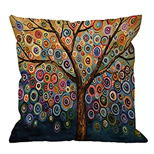 HGOD DESIGNS Throw Pillow Case Love Tree Color Rainbow Candys Wave Polka Dot Cute Adorable Cotton Linen Square Cushion Cover Pillowcase Home Decorative Sofa Armchair Bedroom Livingroom 18 x 18 inch