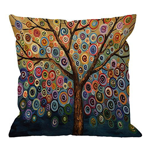 - HGOD DESIGNS Throw Pillow Case Love Tree Color Rainbow Candys Wave Polka Dot Cute Adorable Cotton Linen Square Cushion Cover Pillowcase Home Decorative Sofa Armchair Bedroom Livingroom 18 x 18 inch