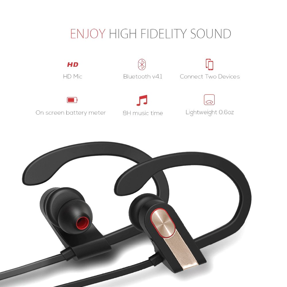 Bluetooth Earphones,XPLUS Bluetooth Headphones with Mic Bass Noise Cancelling, Metal Decorate Bluetooth HD Stereo Headset In-ear Earbuds Earphones with Soft Rubber Ear Hooks (Grey)