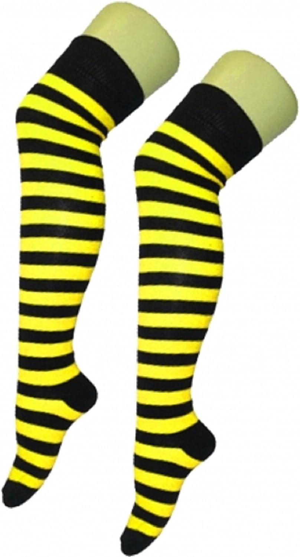 Chaussettes montantes au-dessus du genou pour femmes motif /à rayures horizontales style arbitre par Angies Fashion Ltd