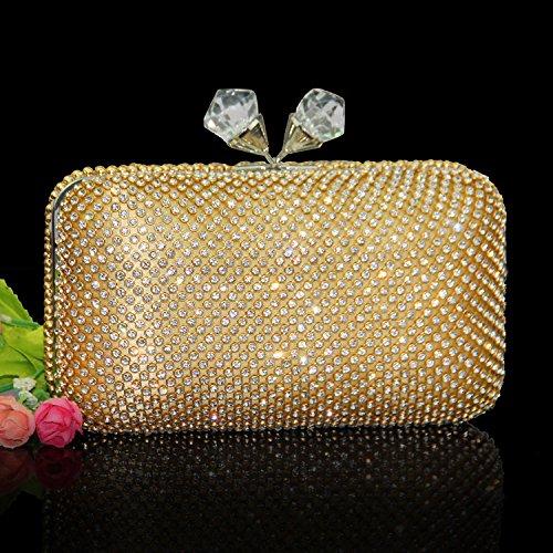 Diamond mano de Dress Dinner WLQ Dorado Bag Diamond de Bridal de Bolsa embrague Full YYY imitacin negro Wedding bolso diamantes Handbag Bag de Banquete q1BxEgO