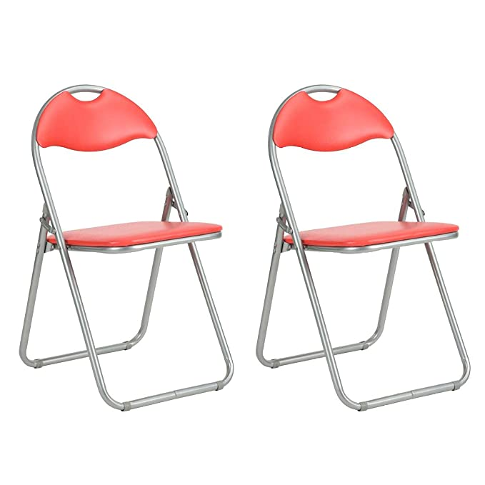 AltoBuy Patty - Juego de 2 sillas Plegables Rojas y Grises ...