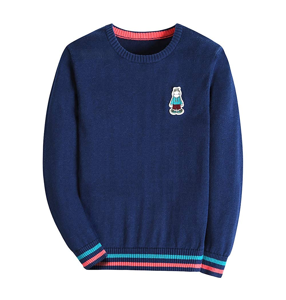 KID1234 Boy/'s Sweater Pullover Long Sleeve Crew Neck Cotton Multicolor Striped Solid Color