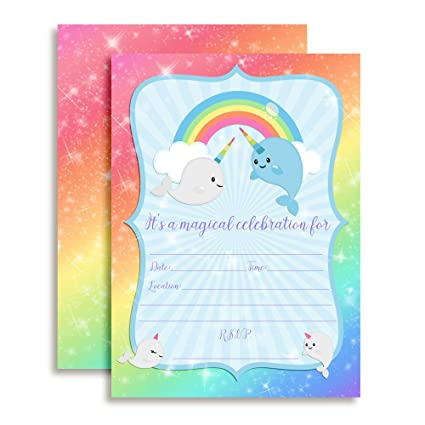 Amazon amanda creation narwhal unicorn of the sea birthday amanda creation narwhal unicorn of the sea birthday party fill in invitations set of filmwisefo