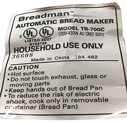 amazon com new kneading paddle fits breadman model tr 700c plus rh amazon com Breadman Bread Machine breadman plus manual tr700c