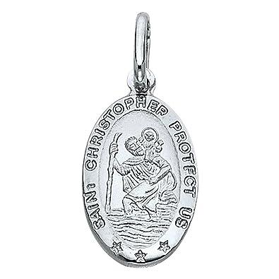 Amazon 14k white gold religious saint christopher medal charm 14k white gold religious saint christopher medal charm pendant aloadofball Gallery