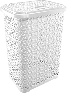 UNIWARE 60 LT Hollow Design Clothes Hamper Laundry Basket, Made in Turkey,White (1, White)
