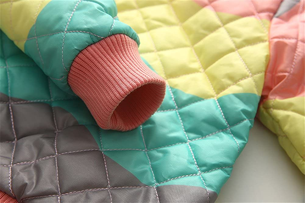 Mud Kingdom Girls Rainbow Quilted Bomber Jacket with Warm Fleece Lining