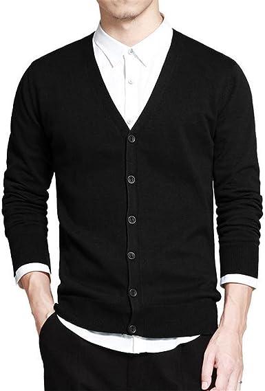 Suéter de algodón Hombres Cardigan de Manga Larga para Hombre ...