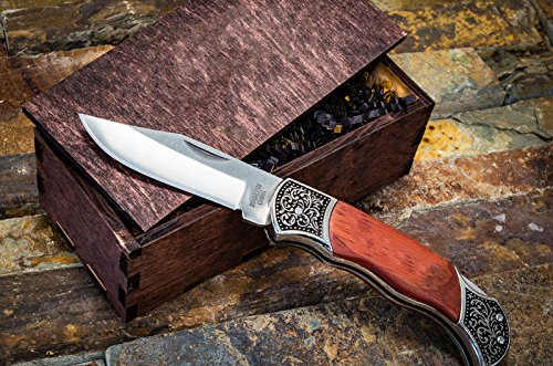 Gentleman's Pocket Knives w/ Wood Boxes- Rustic Wooden Groomsmen Gift Box Set- Groomsman Knife, Husband, Boyfriend or Mens Wedding Gifts- Folding Blade Locks When Open LB318 Engraved Nfl Money Clip