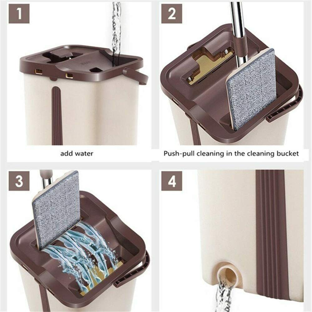 Home Mop and Bucket - Self Cleaning Flat Mop Bucket & 4 Pads by uramircle (Image #4)