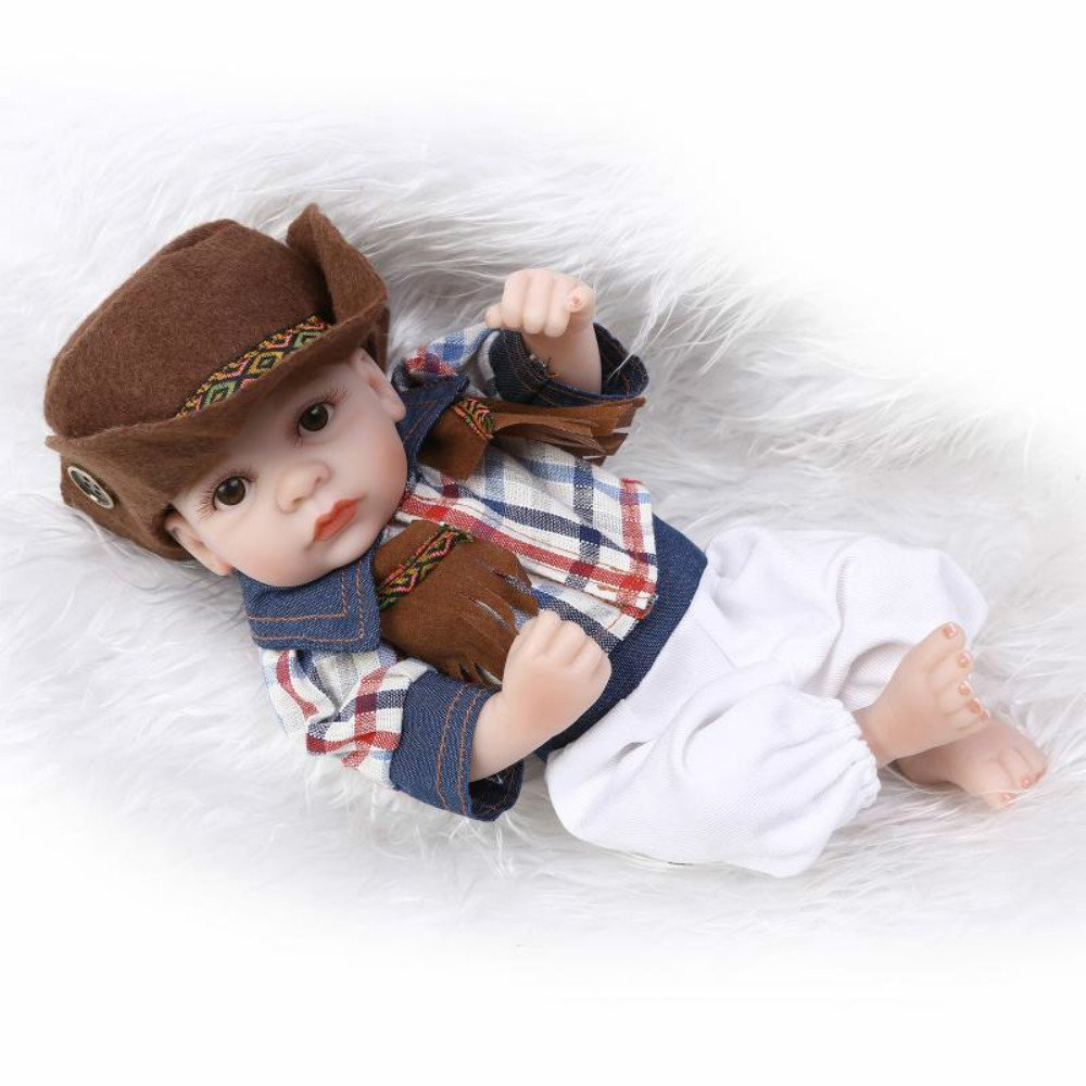 10 Inch Mini Baby Doll Full Vinyl Boy Dolls Cowboy Style Toys for Kids