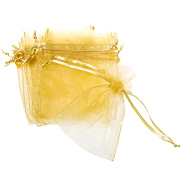 Amazon.com: Mini Oro Cordón de organza bolsas: Health ...
